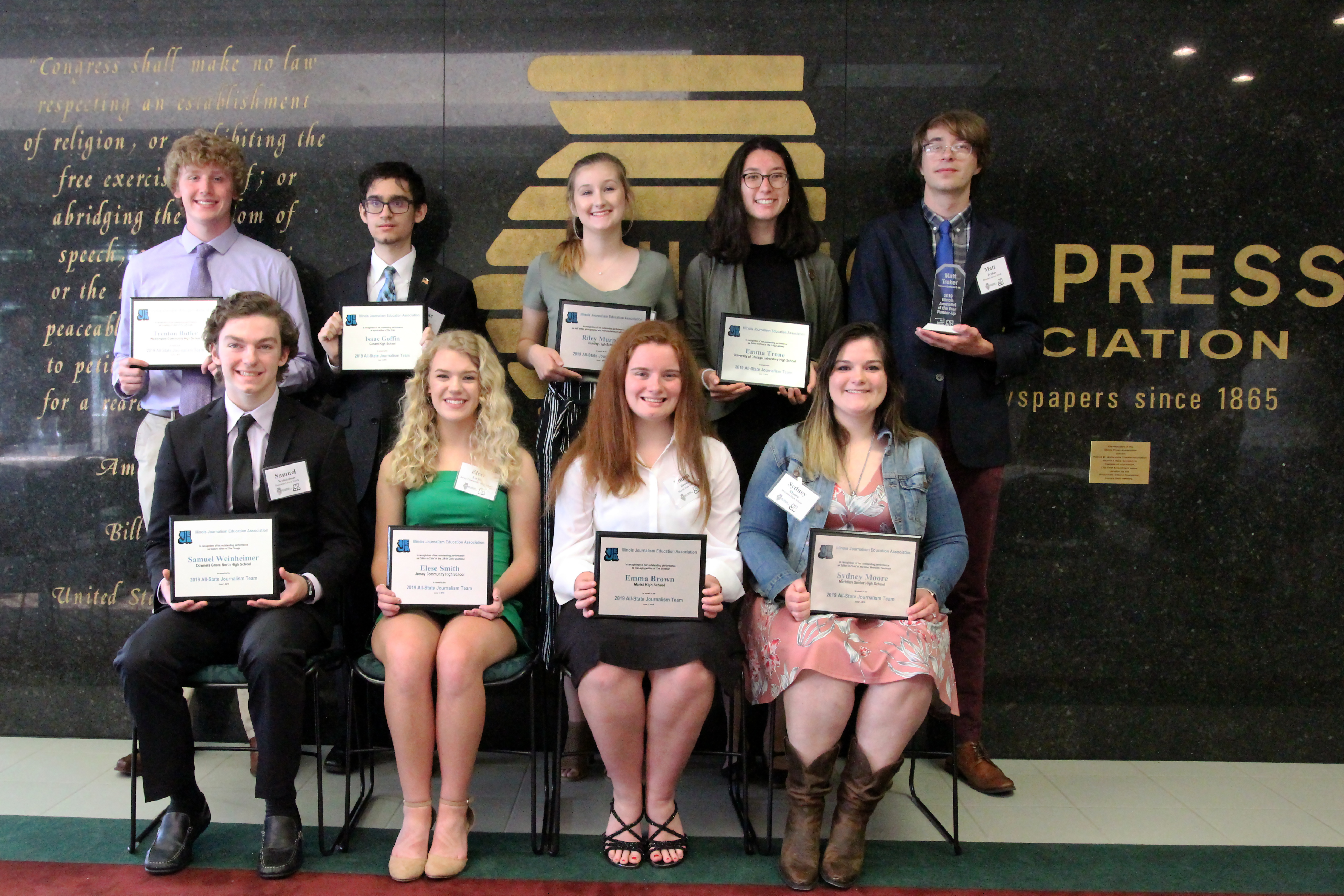 The annual Illinois Journalism Education Association/Illinois Journalist of the Year Luncheon was held June 1 at the Illinois Press Association/Foundation office in Springfield. The luncheon honored the 2019 All-State Journalism Team. (Photo courtesy of David Porreca, IJEA Board member)